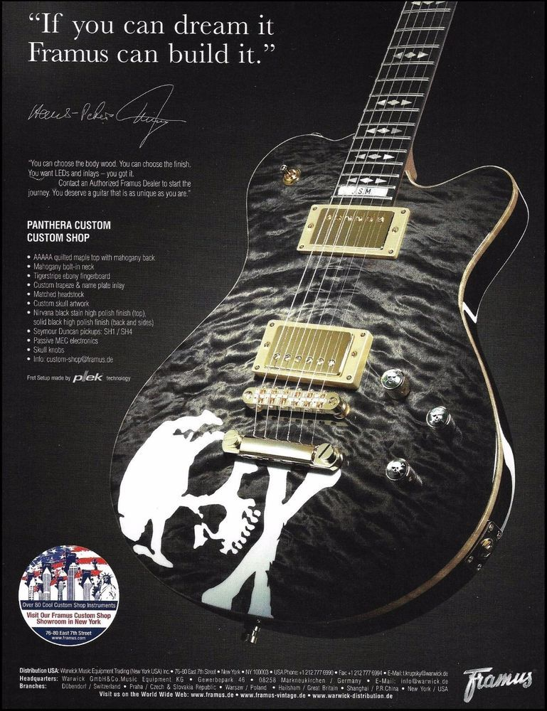 Framus Panthera Custom Shop Nirvana Black Satin Skull Guitar 8 x 11