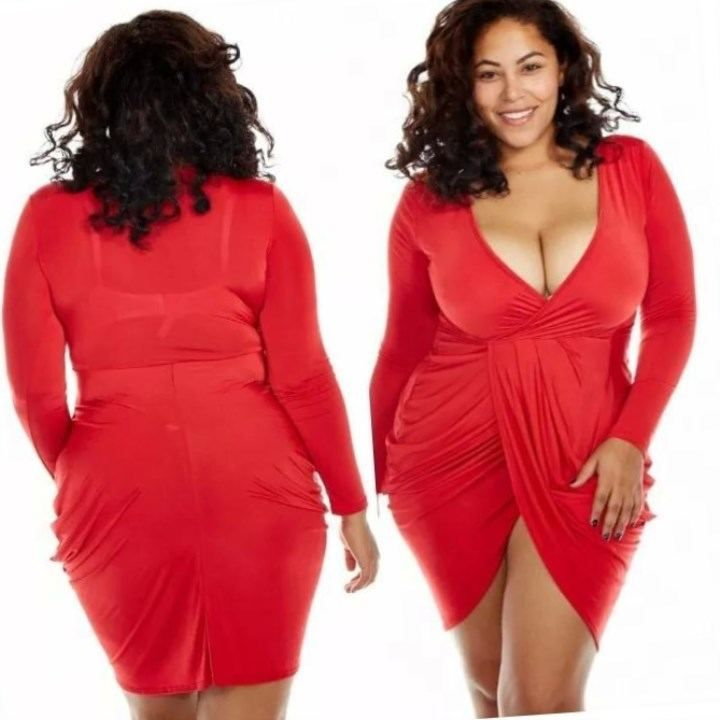 Red bandage dress plus size