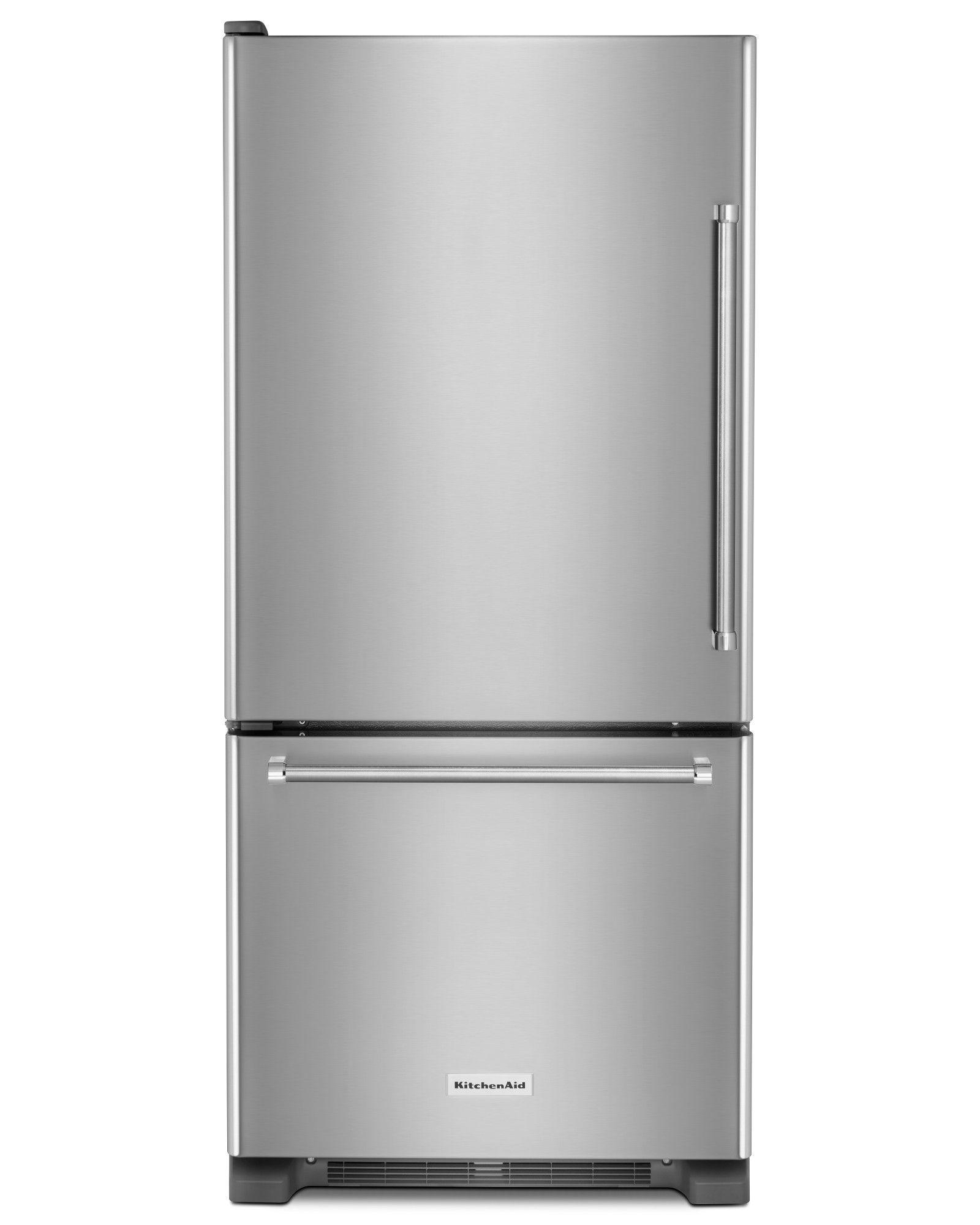 kitchenaid white refrigerator bottom freezer
