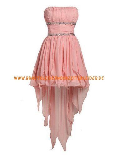 Trägerlos Moderne Glamoures Abendkleid aus Chiffon mit Perlenstickerei