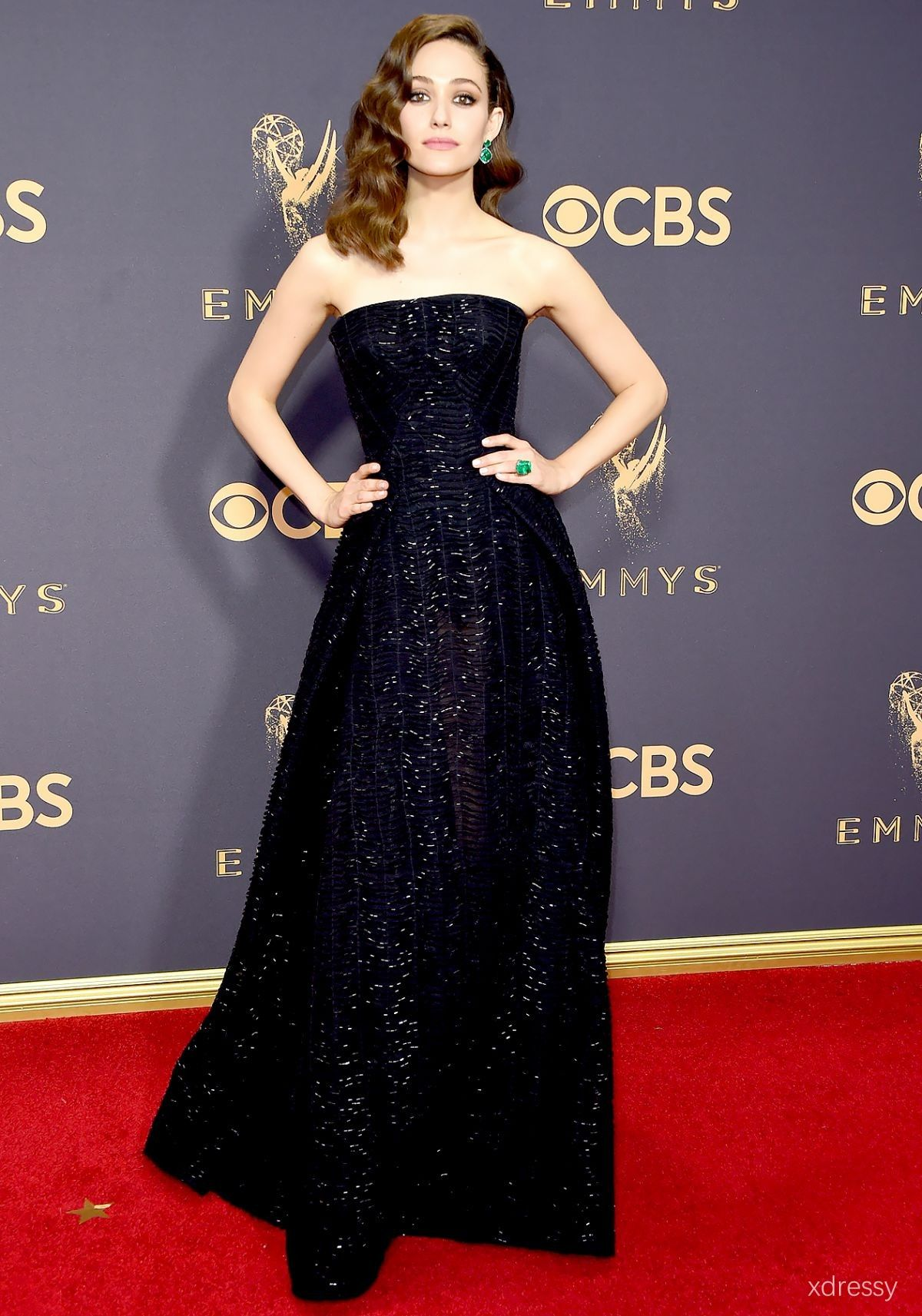 455ff41fca6 Emmy Rossum black strapless prom gown with sequin detailing Emmys 2017