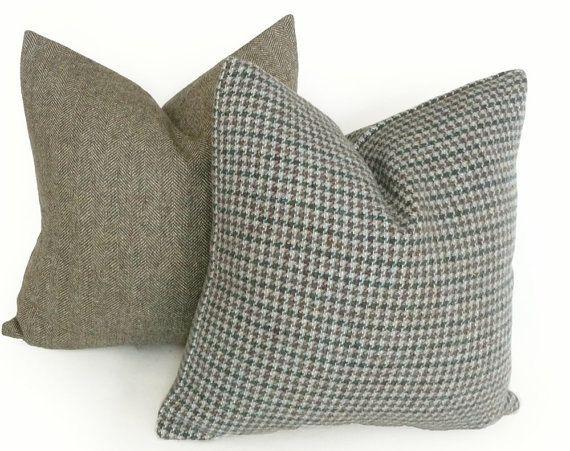 Houndstooth Pillow Rustic Throw Pillows Blue Brown Grey Cushion