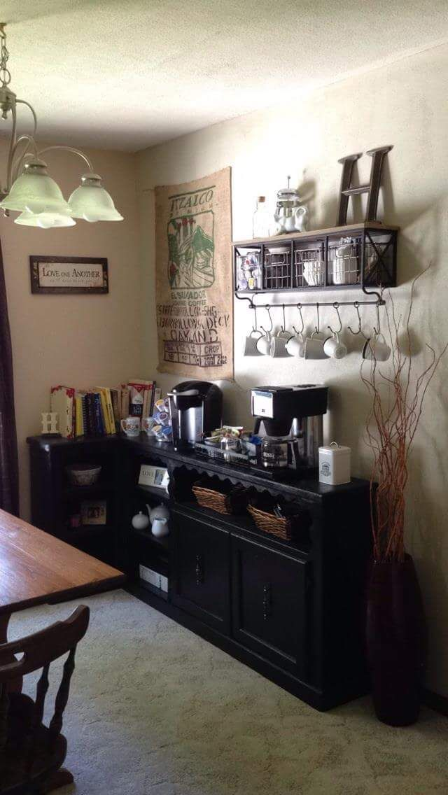 This Is My Coffee Bar Corner Along Dining Room Wall The L Shaped Cabinet Great For Holding Everything Needed To Make Perfect Cup Of