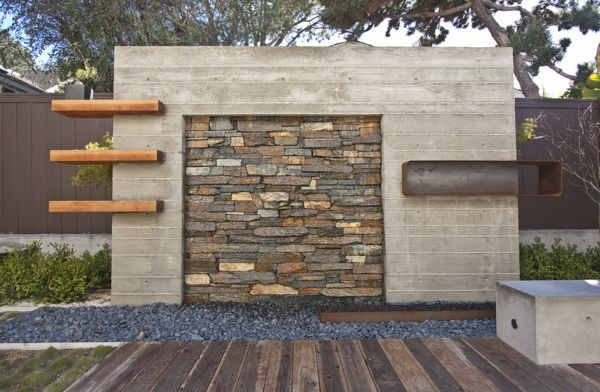 gartennmauer naturstein holz beton kieselweg minimalistische, Garten Ideen