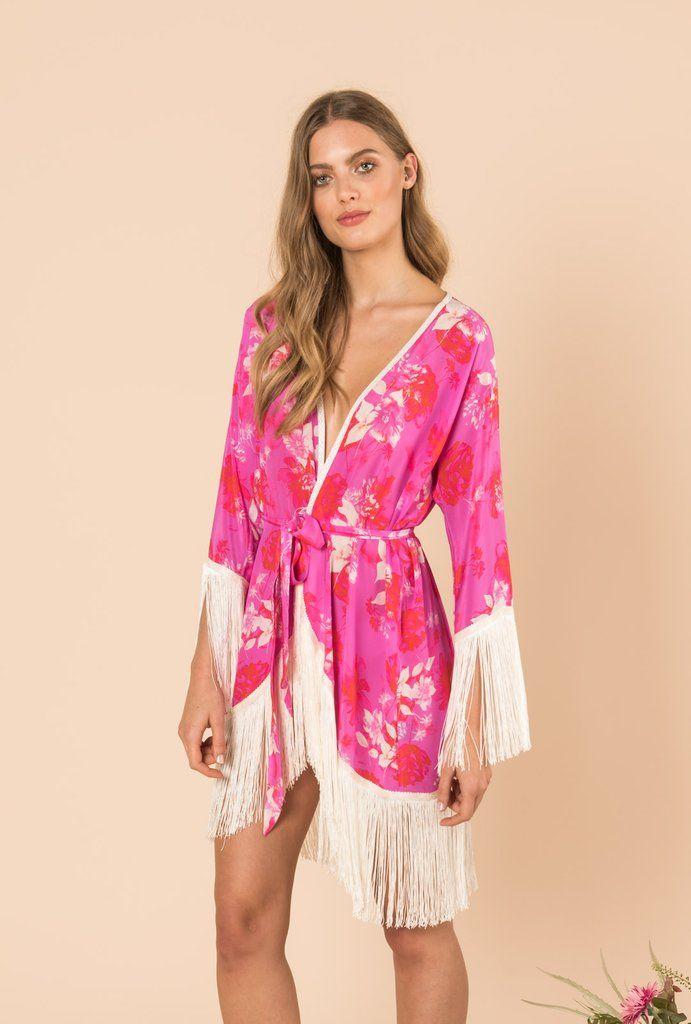 8ca01ef45 Melrose Sunset Short Kimono With Fringes | Wardrobe in 2019 | Short ...