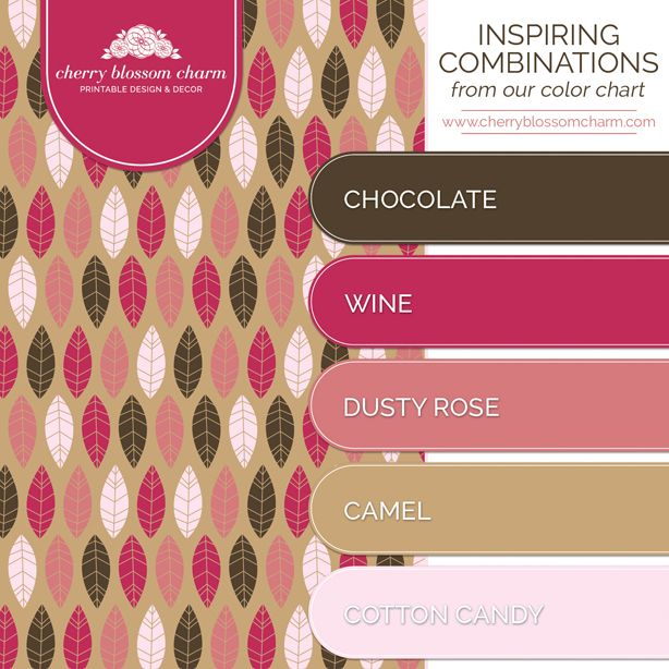 Color Combinations Chocolate Brown Pink Rose Light Cherry Blossom Charm