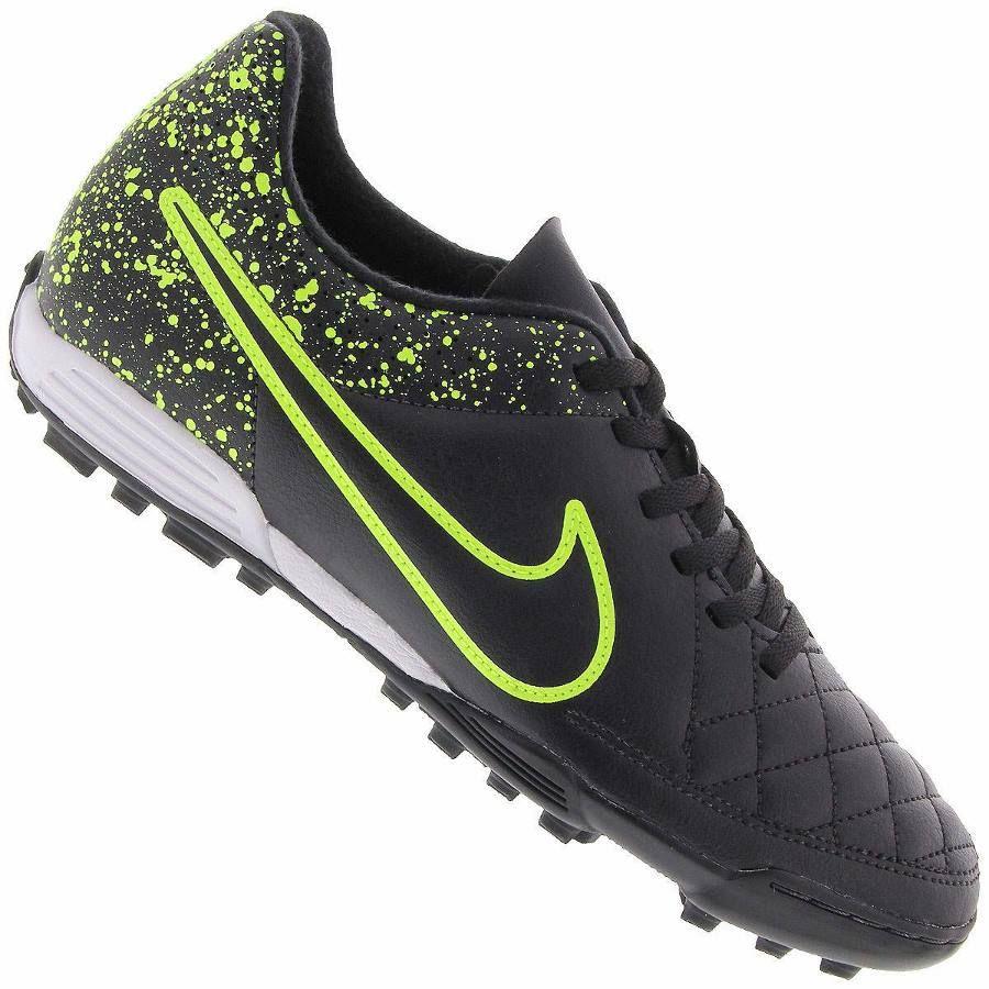 Chuteira Nike Tiempo Rio II TF Society Masculina Preta / Verde