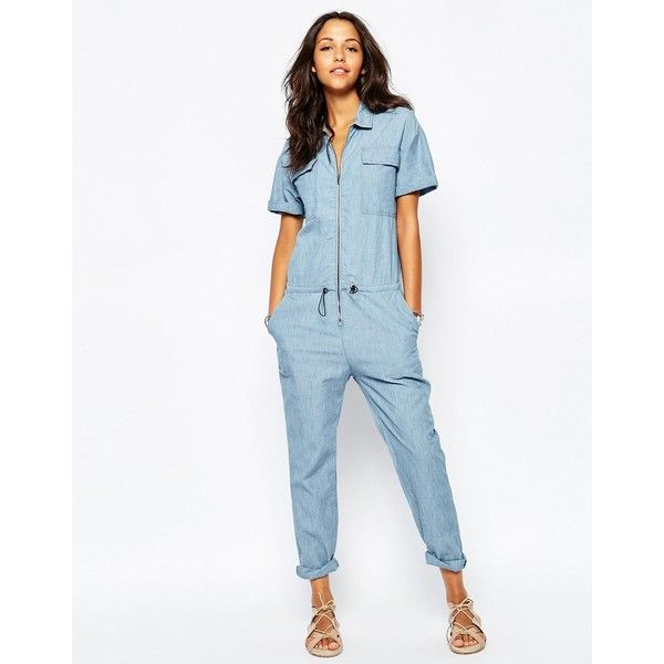 07be25f6f16 Pull Bear Chambray Utility Jumpsuit (€49) ❤ liked on Polyvore featuring  jumpsuits