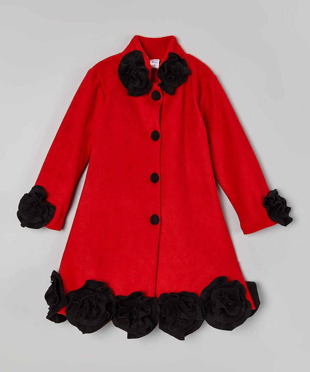 653d8ffadd67 Look at this Little Miss Fashion Red   Black Ruffle Rosette Coat ...