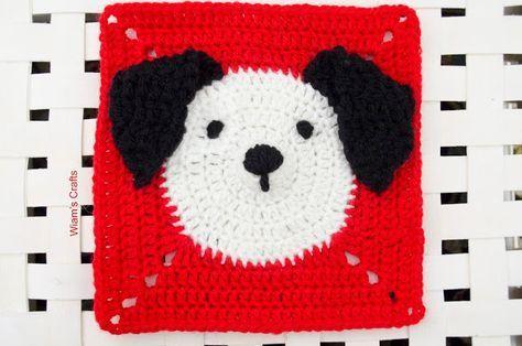 Wiam's Crafts: Puppy Granny Square Free Crochet Pattern