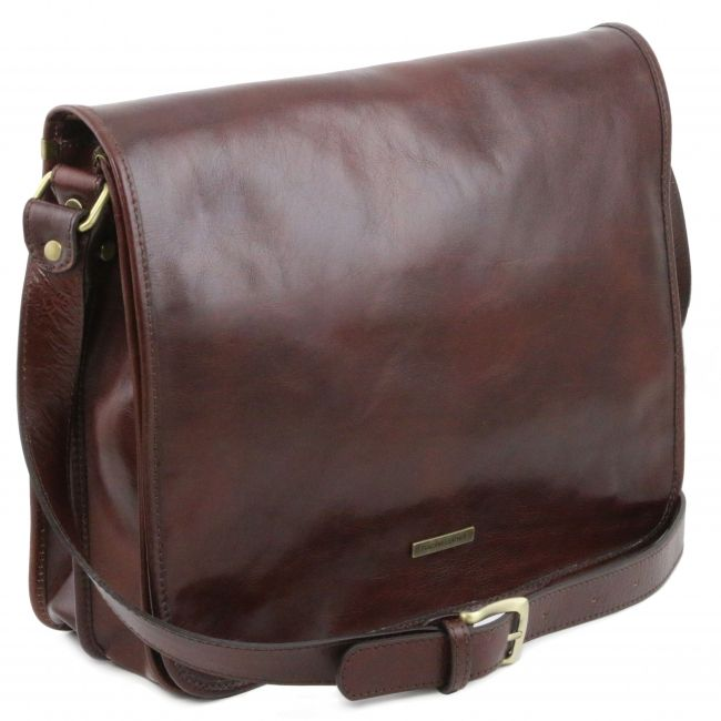 TL messenger Two compartments brown leather shoulder bag - Large size-  TL141254 - Tuscany Leather ab2afddec1a4f