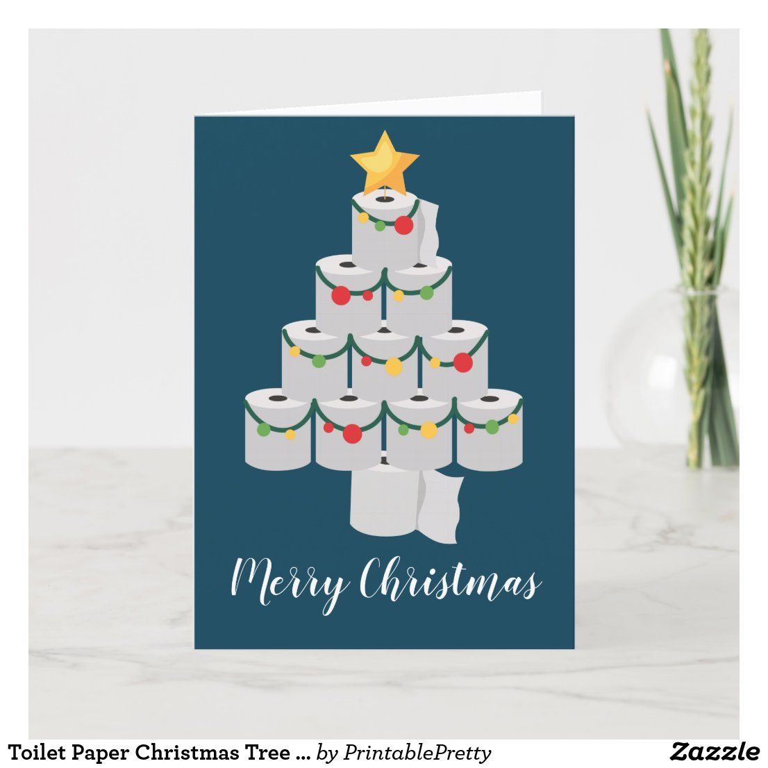 Toilet Paper Christmas Tree Funny 2020 Holiday Card Zazzle Com In 2021 Funny Xmas Cards Funny Christmas Cards Christmas Photo Cards