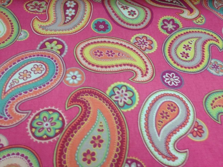 NEW Linen by the YARD- 16 Designs Available Pink Multi-Colored Paisley