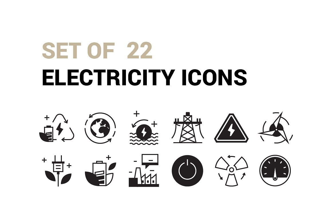 Nice Set Of 22 Electricity Icons Clean Creative Cycle Ecology Electricity Energy Environment Flat Green Icon Energy Symbols Power Logo Electricity