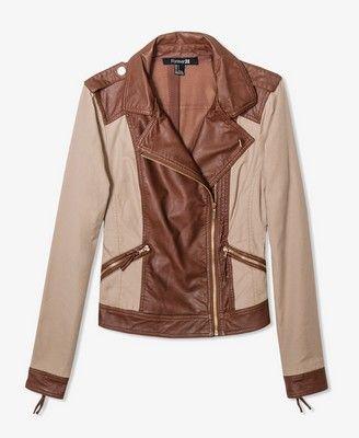 Contrast Khaki Moto Jacket | FOREVER21