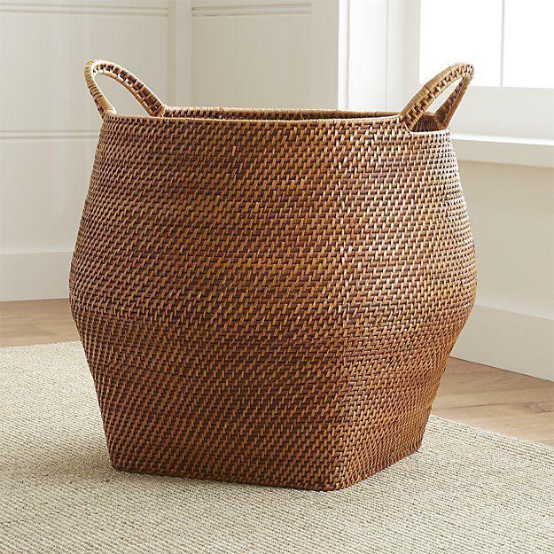 Sedona Honey Round Rattan Storage Basket | Crate and Barrel - Sedona Honey Round Rattan Storage Basket | Crate and Barrel -