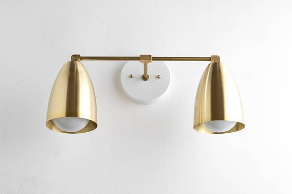 Photo of Modern Brass Fixture –  Bathroom Lighting – Brass Vanity Lamp – Wall Light Brass – Mid Century Modern Wall Fixture – Model No. 8289