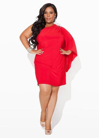 b19f29bfe8a Ashley Stewart Beaded One-Shoulder Dress