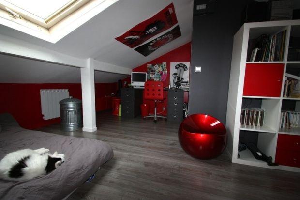 Chambre ado Gris Rouge Moderne | Chambre enfant | Pinterest ...