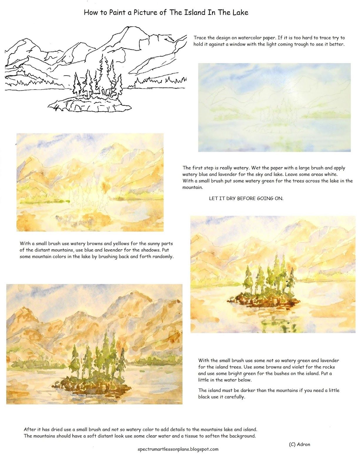 How To Paint A Picture Of An Island In The Lake