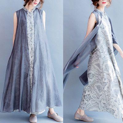 Women summer linen vest dress