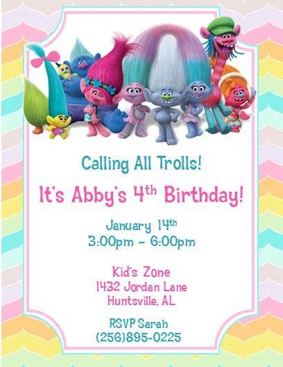 trolls party printed invitations 5 invitations in 2018