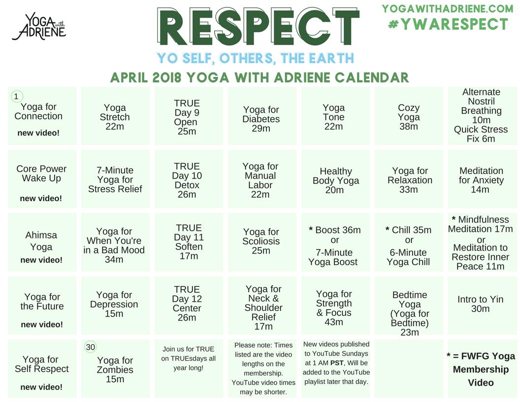 Calendar Yoga With Adriene Yoga With Adriene Yoga For Toning Yoga Day