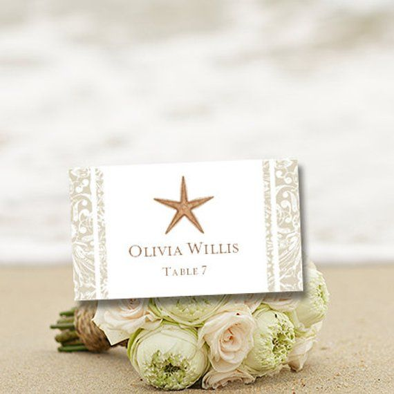place card printable template beach starfish editable worddoc avery 5302 compat instant down