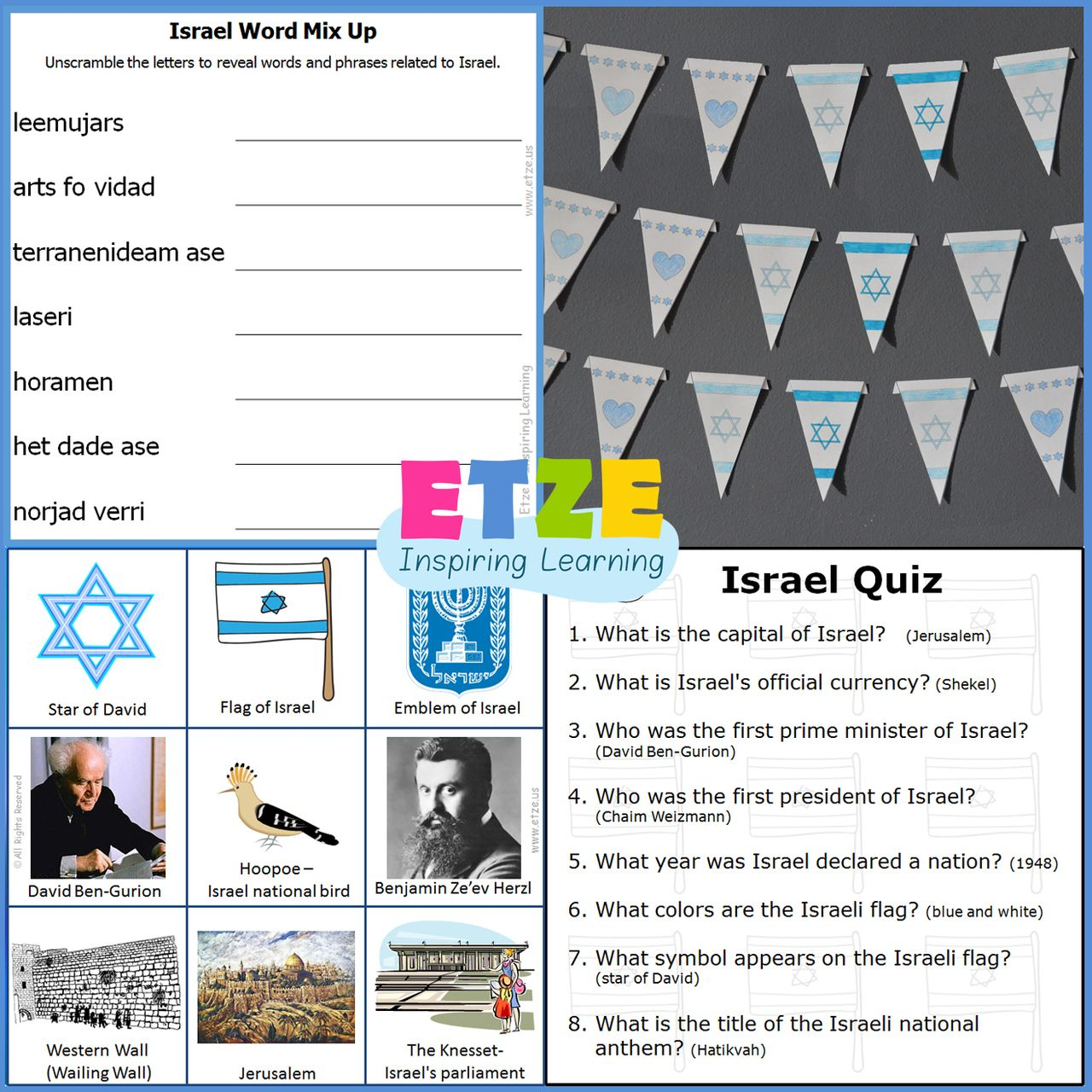 etze Israel Independence Day Enrichment Kit Bingo game crafts – Enrichment Worksheets