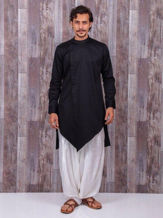 527129dcaa4d Festive Wear Black Cotton Silk Kurta Suit, kurta pyjama, mens indian wear