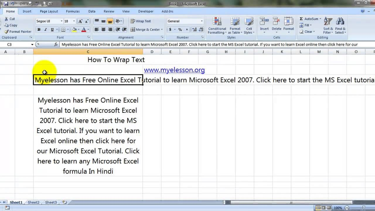 Learn how to use Microsoft Excel Wrap Text function in Hindi