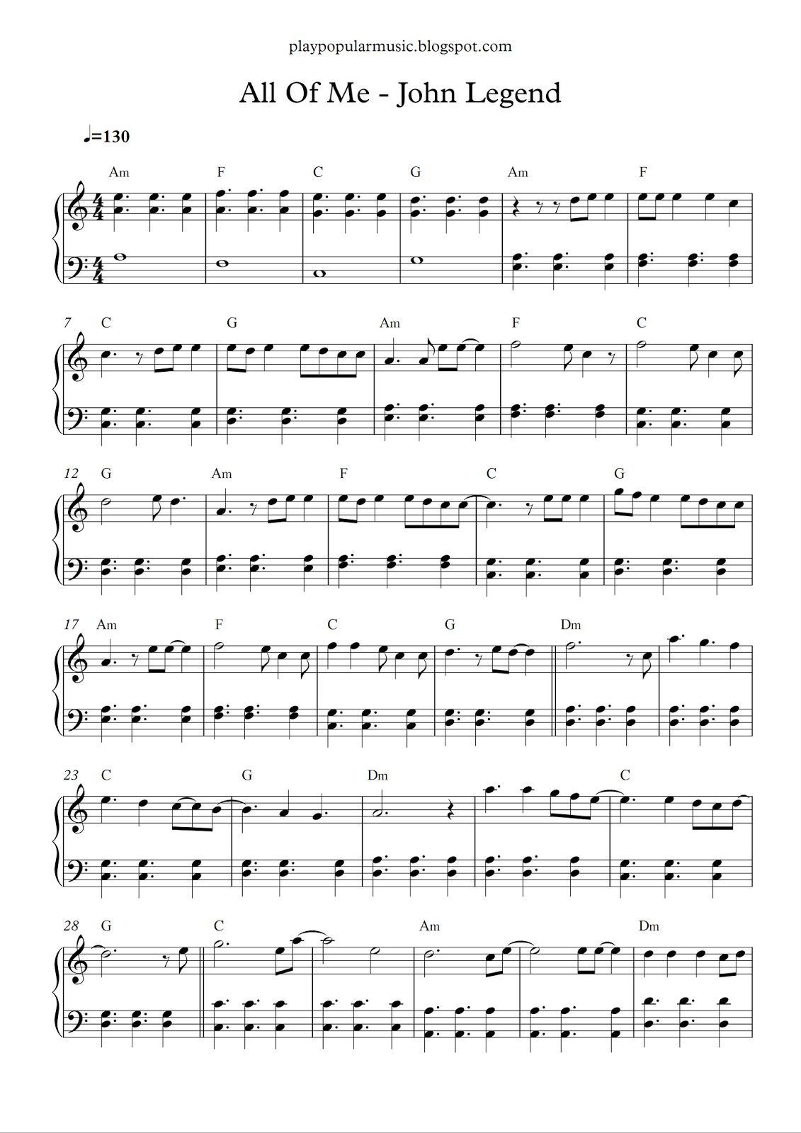 Free Piano Sheet Music All Of Me John Legend Pdf What S Going