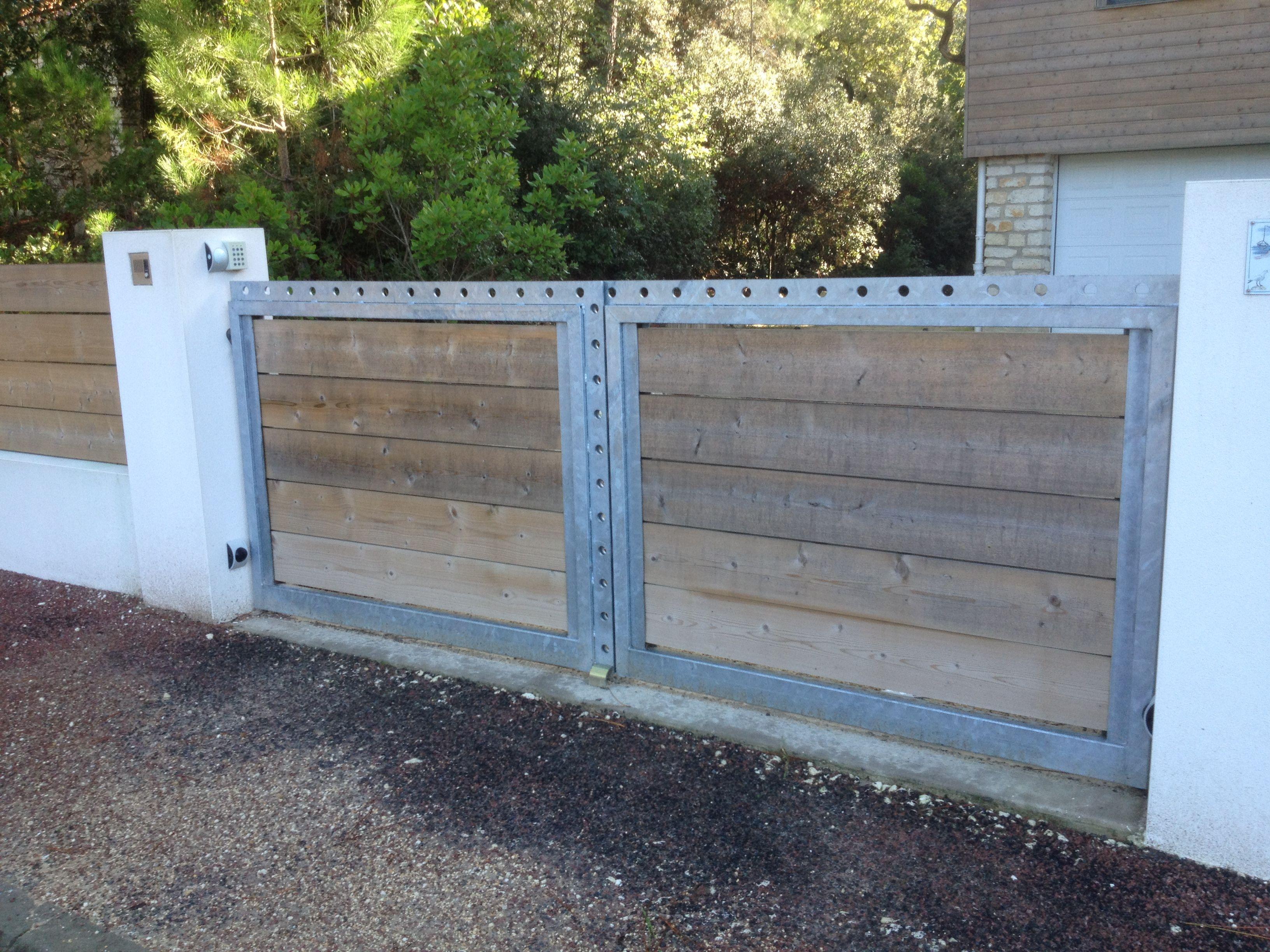 Magnifique Portail acier galvanisé portail bois plein | Fermepaulianne #DA_38