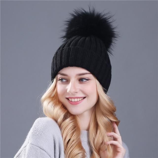 40e90e7aa192e Xthree Mink And Fox Fur Ball Cap Pom Poms Winter Hat For Women Girl ...
