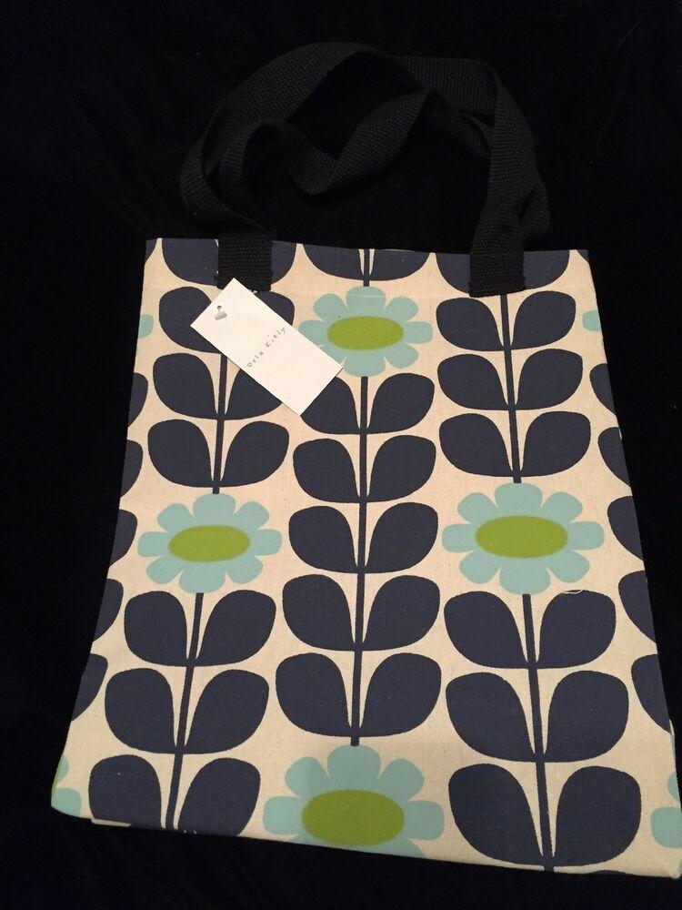 Orla Kiely Tall Stem Flower Bag Tesco Blue Green Medium Reusable