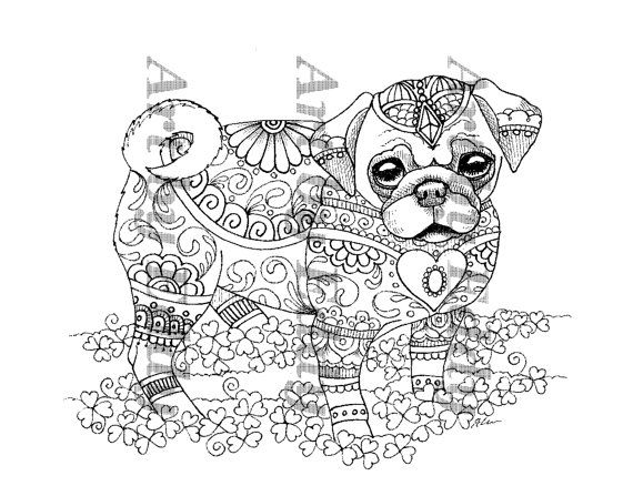 Art Of Pug Coloring Book Volume No 1 Downloadable Version Coloring Books Coloring Book Art Dog Coloring Page