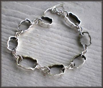 things made with a hollow handled butter knife - Vintage Silverplate Hollow Knife Slice Link Bracelet #2
