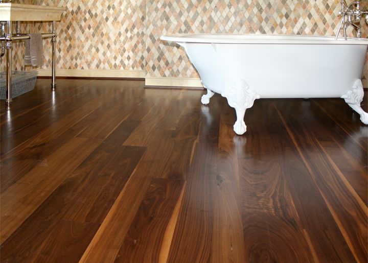 Elegant Bathroom With Character Grade Walnut Flooring Walnut