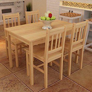 Mesa de comedor con 4 sillas de madera, color natural