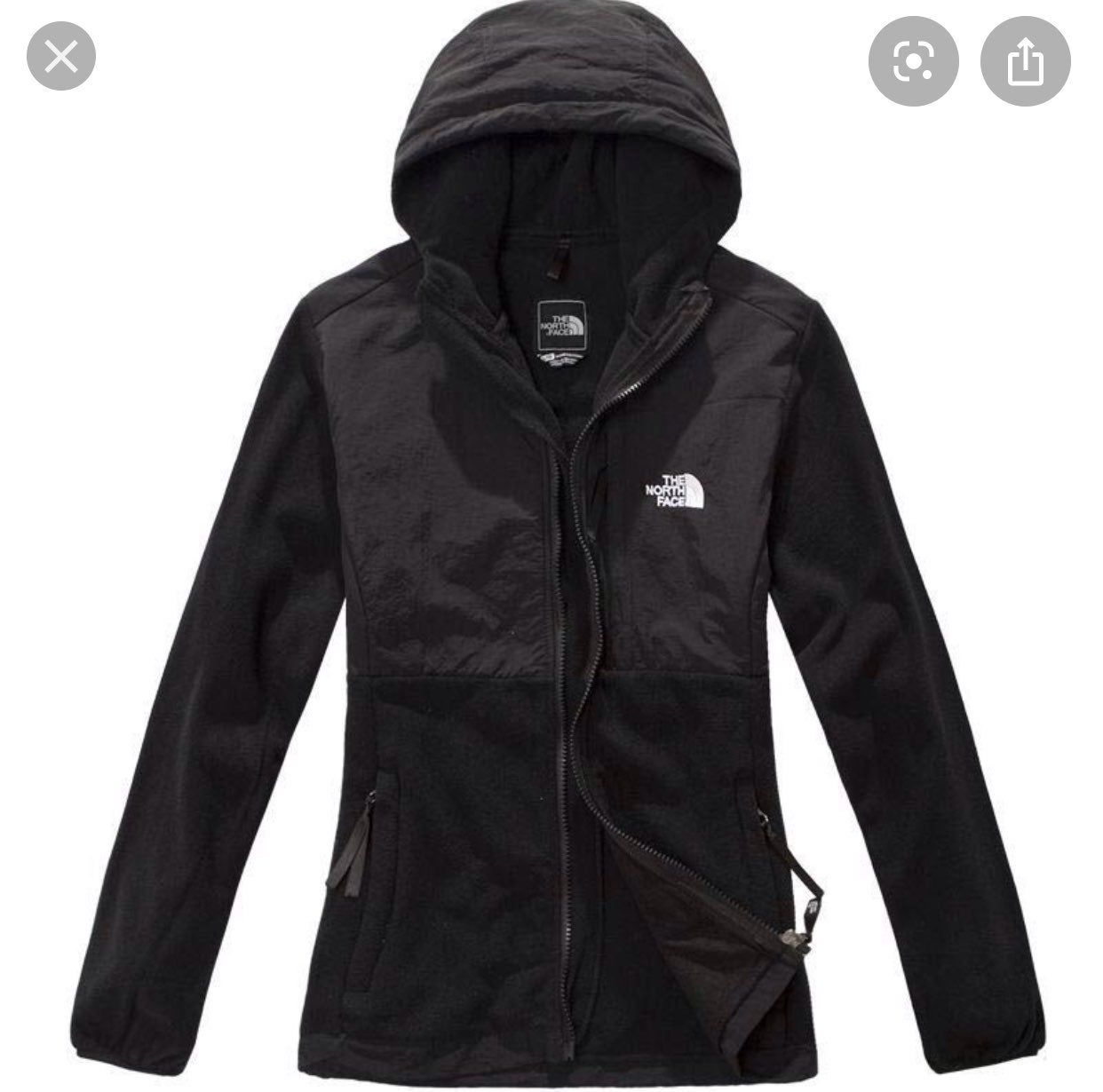 Black Size Xl Women S Northface Jacket With Hoodie All Zippers Work One Of The Zippers Has A Small Tear Hoodie Jacket Women North Face Jacket North Face Women [ 1230 x 1242 Pixel ]