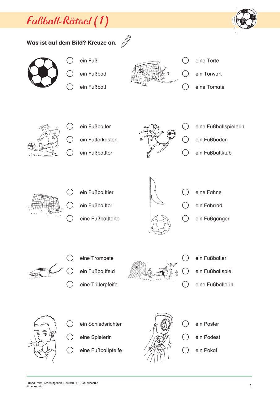 Fußball-WM, Leseaufgaben, Deutsch, 1. und 2. Klasse | Deutsch ...