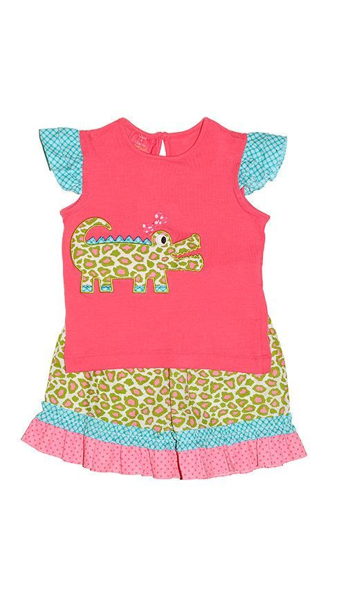Claire & Charlie Alligator Patch 2pc Set - Girl