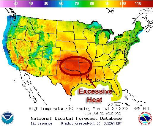 Extreme Heat Continues to Plague South Central States - Dangerous heat is once again roasting South Central states, with heat advisories and warnings in effect through the end of the week in eight states — including nearly all of Arkansas, Louisiana, and Oklahoma. So far this month, numerous heat records have been shattered across the U.S., and for some locations in the lower 48 states, July 2012 may go down in history as the warmest of any month on record.