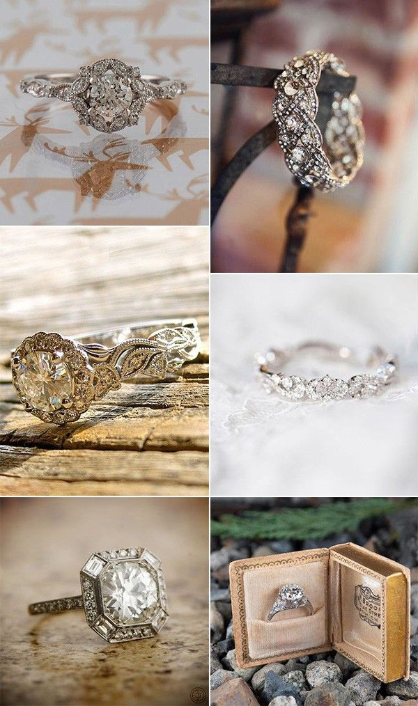 "20 Vintage Engagement Rings That Will Melt Your Heart - Wedding rings vintage, Vintage engagement rings, Wedding rings engagement, Diamond wedding bands, Engagement, Unique engagement rings - Vintage engagement rings perfectly fit girls who likes classics  As for what defines a ring as a ""vintage"" aesthetic, it's truly all in the details  Floral motifs, twisted bands, and different beautiful gemstones give a ring an oldworld feel  Vintageinspired rings will always look trendy and classic that will never fade  If you're looking forRead more"