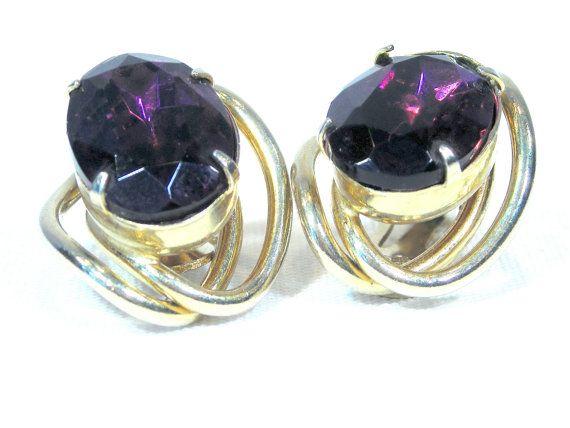 Vintage Gold Tone Faux Amethyst Clip on Earrings by FashionPenny, $18.00