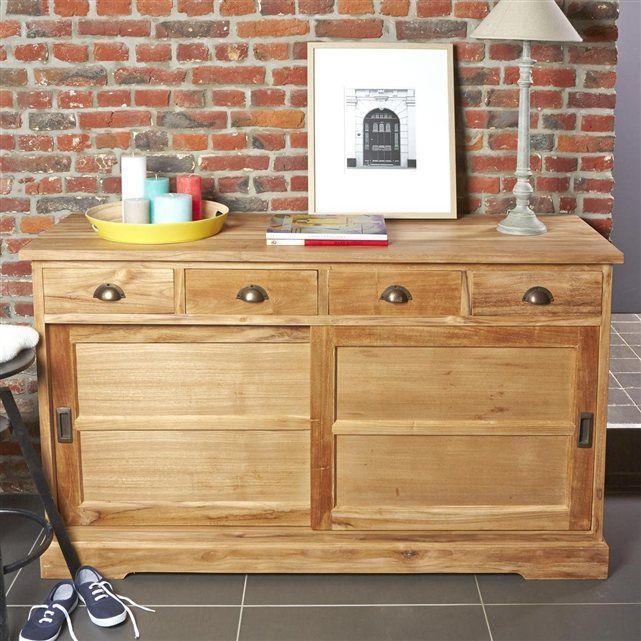 buffet en teck brut qualite grade a 2 portes coulissantes 4 tiroirs gardenandco buffet. Black Bedroom Furniture Sets. Home Design Ideas
