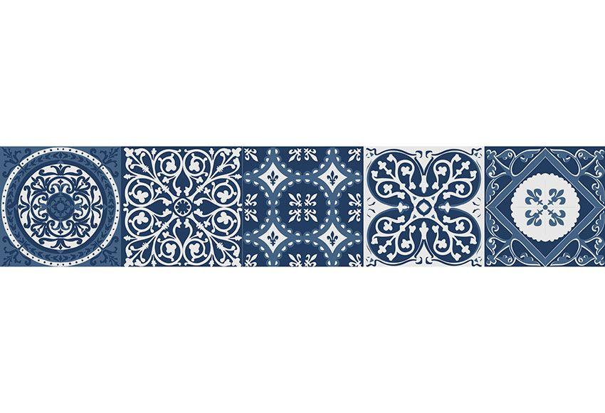Cenefa Adhesiva De Vinilo Azulejos Azul 3 M Leroy Merlin Vinilo Azulejos Azulejos Azules Azulejos