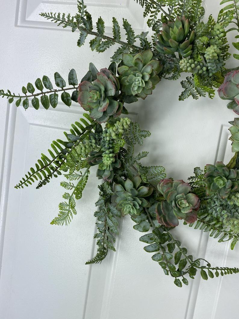 Photo of Small succulent wreath for the front door, year-round front door wreath, everyday wreath, wreath for men, kitchen decor, succulent wreath