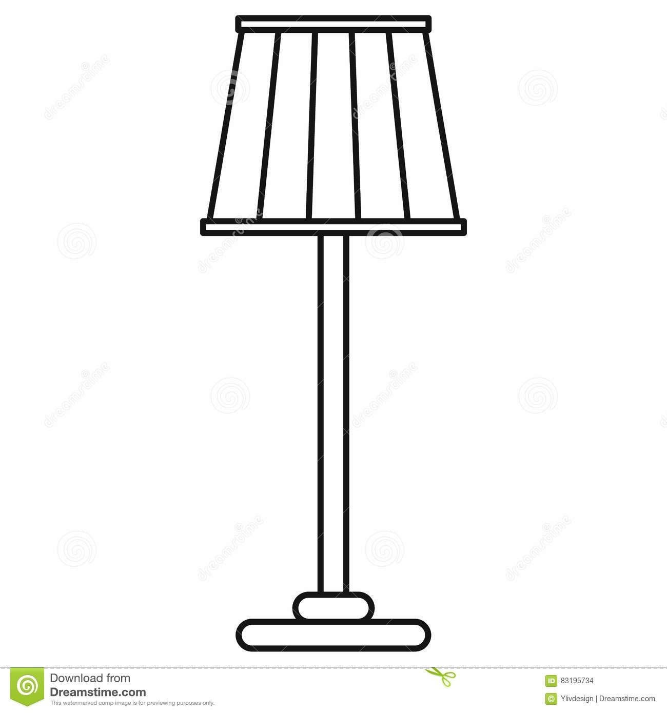 Floor Lamp Icon In Outline Style Stock Vector Illustration Of With Floor Lamp Clipart Black And Black And White Furniture Clipart Black And White Floor Lamp