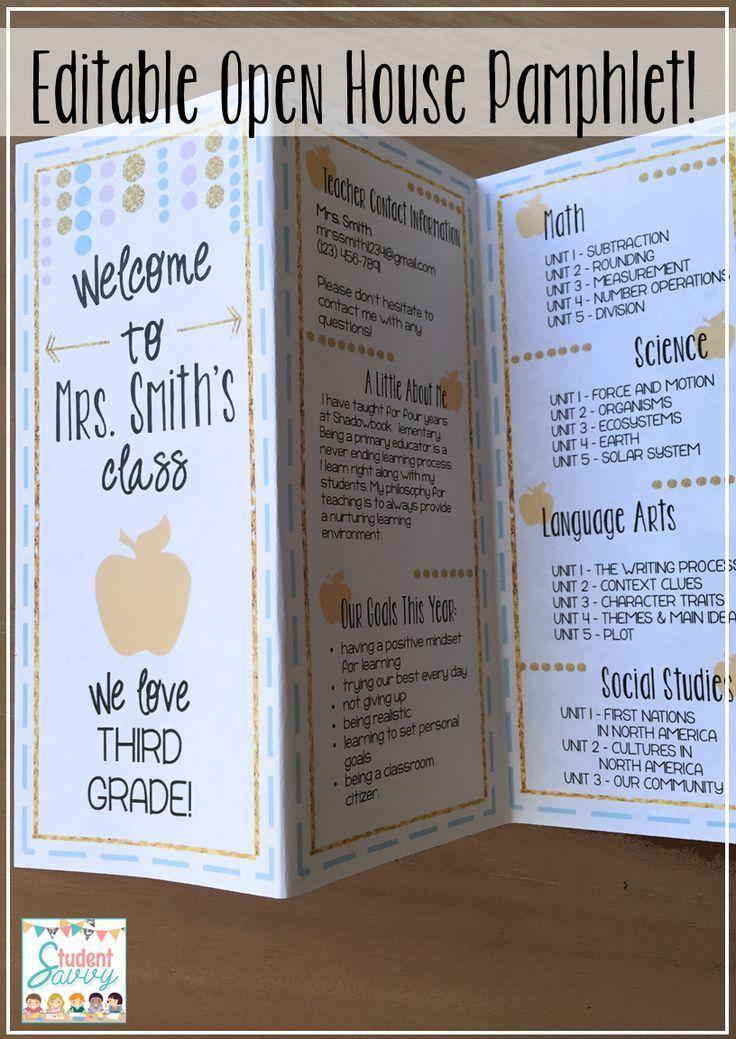 Meet The Teacher Back To School Night Pamphlet Brochure Template